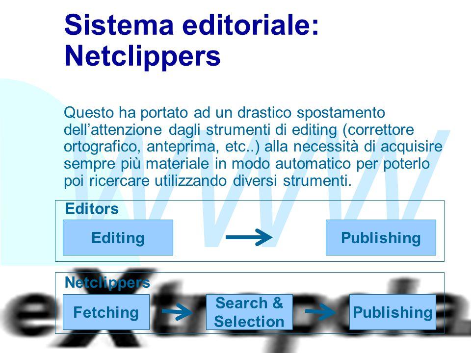 WWW Fabio Vitali18 Sistema editoriale: Netclippers Questo ha portato ad un drastico spostamento dell'attenzione dagli strumenti di editing (correttore