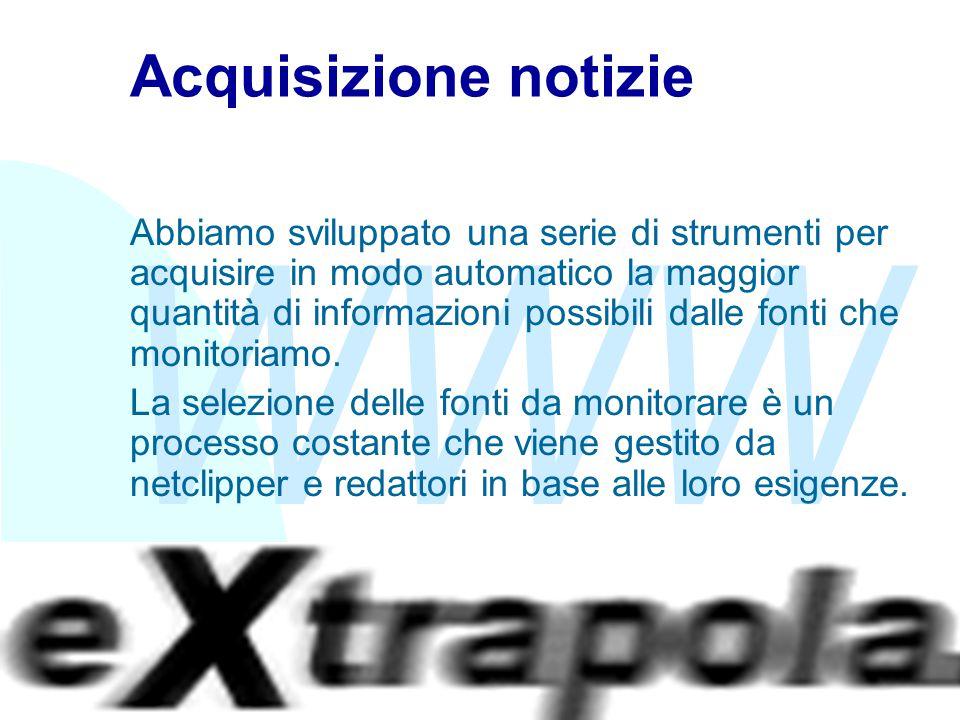 WWW Fabio Vitali20 Acquisizione notizie Abbiamo sviluppato una serie di strumenti per acquisire in modo automatico la maggior quantità di informazioni