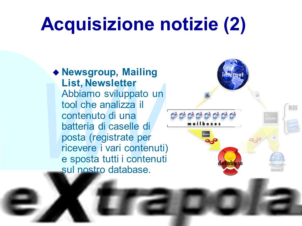 WWW Fabio Vitali21 Acquisizione notizie (2) u Newsgroup, Mailing List, Newsletter Abbiamo sviluppato un tool che analizza il contenuto di una batteria di caselle di posta (registrate per ricevere i vari contenuti) e sposta tutti i contenuti sul nostro database.