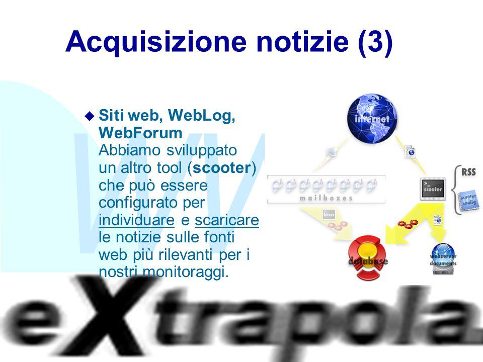 WWW Fabio Vitali22 Acquisizione notizie (3) u Siti web, WebLog, WebForum Abbiamo sviluppato un altro tool (scooter) che può essere configurato per ind