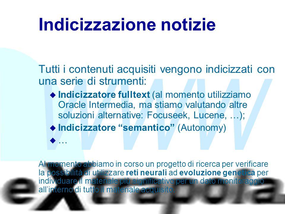 WWW Fabio Vitali23 Indicizzazione notizie Tutti i contenuti acquisiti vengono indicizzati con una serie di strumenti: u Indicizzatore fulltext (al mom