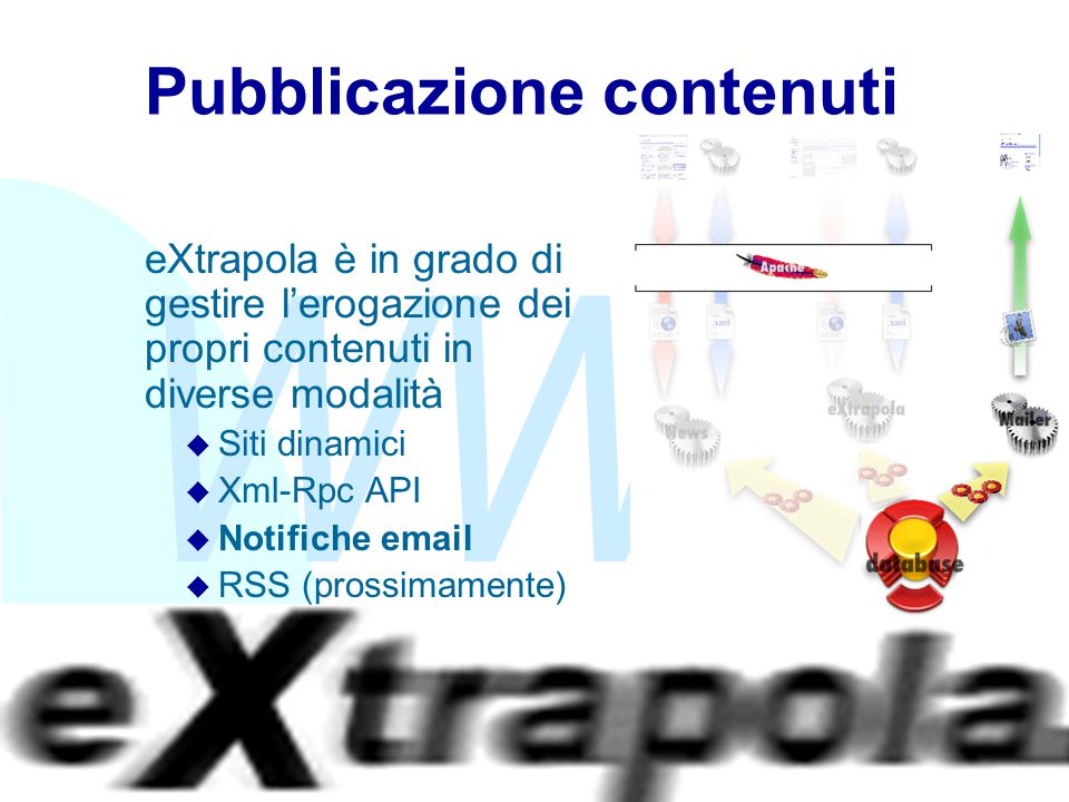WWW Fabio Vitali26 Pubblicazione contenuti eXtrapola è in grado di gestire l'erogazione dei propri contenuti in diverse modalità u Siti dinamici u Xml-Rpc API u Notifiche email u RSS (prossimamente)