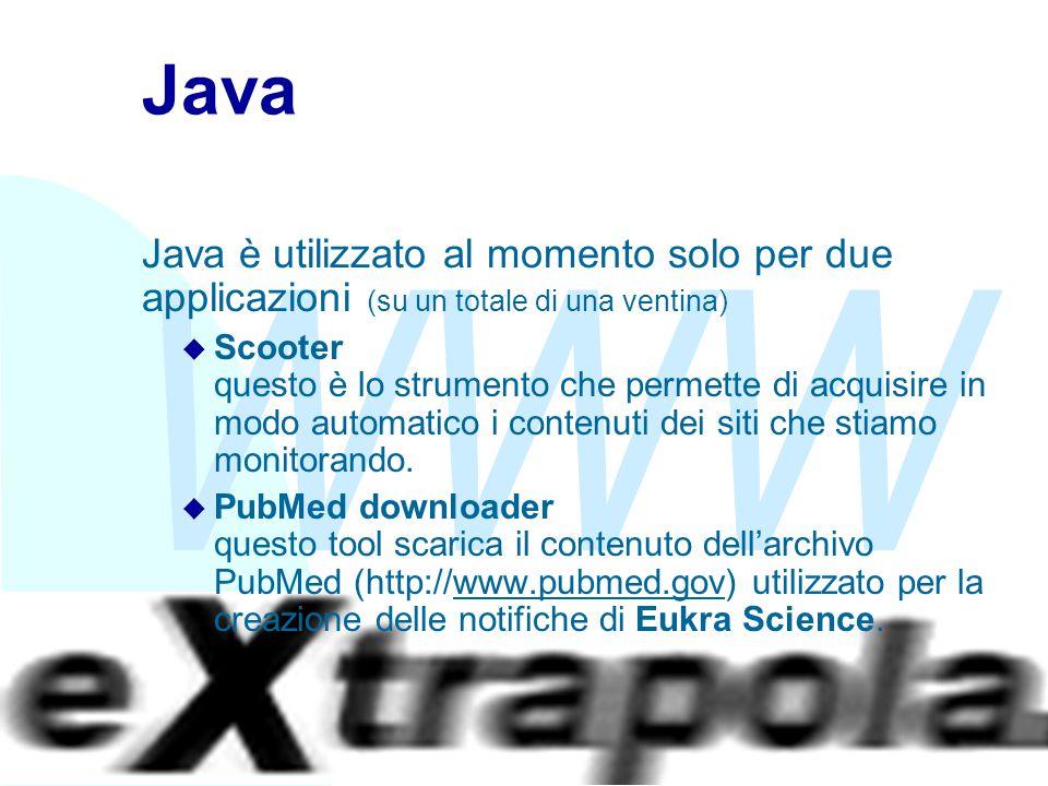 WWW Fabio Vitali28 Java Java è utilizzato al momento solo per due applicazioni (su un totale di una ventina) u Scooter questo è lo strumento che permette di acquisire in modo automatico i contenuti dei siti che stiamo monitorando.