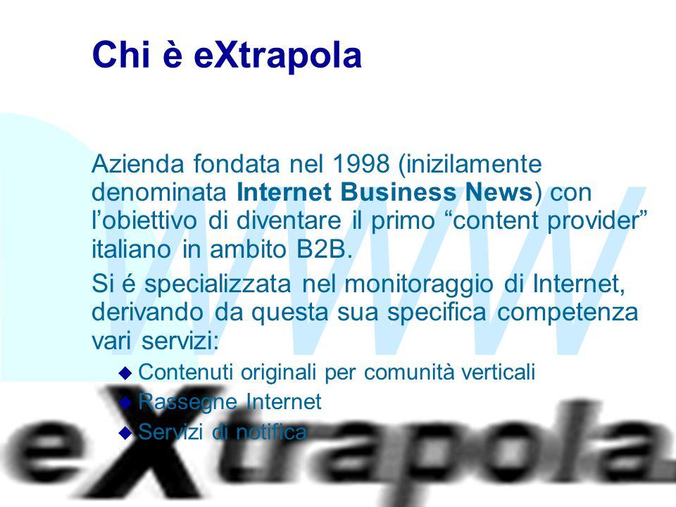"""WWW Fabio Vitali3 Chi è eXtrapola Azienda fondata nel 1998 (inizilamente denominata Internet Business News) con l'obiettivo di diventare il primo """"con"""