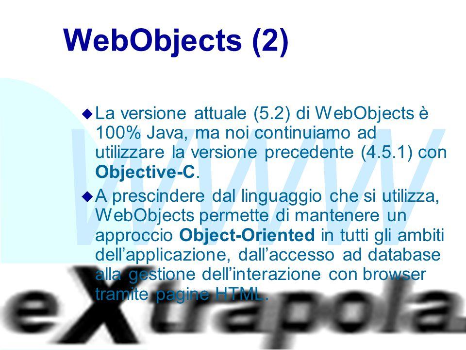 WWW Fabio Vitali30 WebObjects (2) u La versione attuale (5.2) di WebObjects è 100% Java, ma noi continuiamo ad utilizzare la versione precedente (4.5.1) con Objective-C.