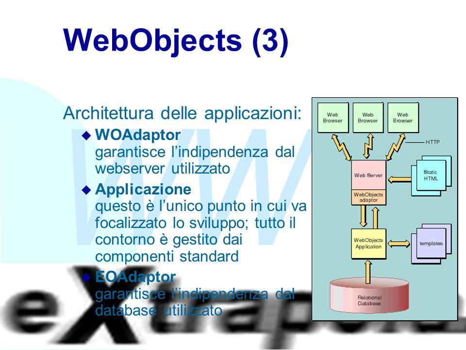 WWW Fabio Vitali31 WebObjects (3) Architettura delle applicazioni: u WOAdaptor garantisce l'indipendenza dal webserver utilizzato u Applicazione questo è l'unico punto in cui va focalizzato lo sviluppo; tutto il contorno è gestito dai componenti standard u EOAdaptor garantisce l'indipendenza dal database utilizzato