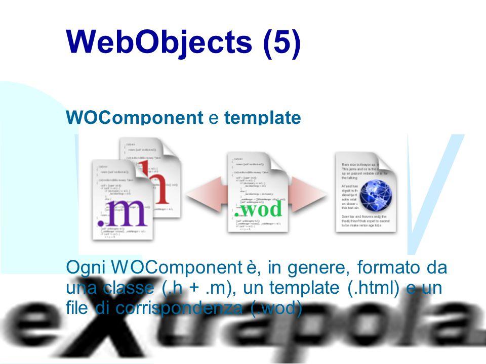 WWW Fabio Vitali33 WebObjects (5) WOComponent e template Ogni WOComponent è, in genere, formato da una classe (.h +.m), un template (.html) e un file