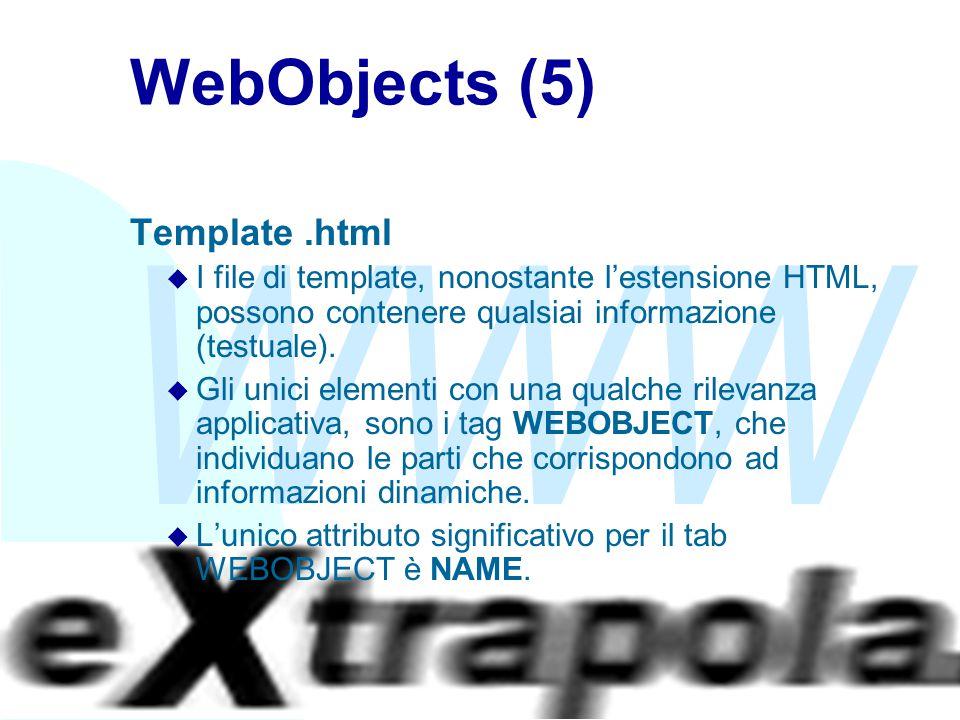 WWW Fabio Vitali34 WebObjects (5) Template.html u I file di template, nonostante l'estensione HTML, possono contenere qualsiai informazione (testuale)