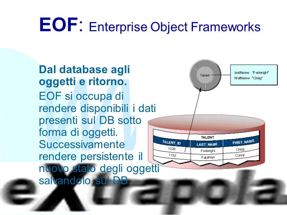 WWW Fabio Vitali37 EOF: Enterprise Object Frameworks Dal database agli oggetti e ritorno. EOF si occupa di rendere disponibili i dati presenti sul DB