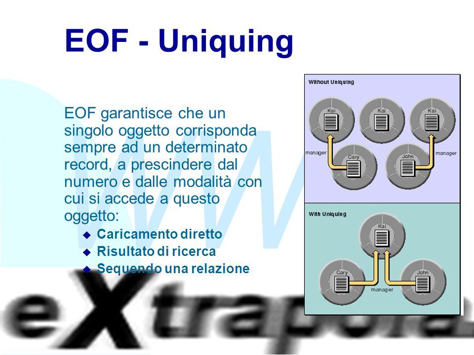 WWW Fabio Vitali39 EOF - Uniquing EOF garantisce che un singolo oggetto corrisponda sempre ad un determinato record, a prescindere dal numero e dalle