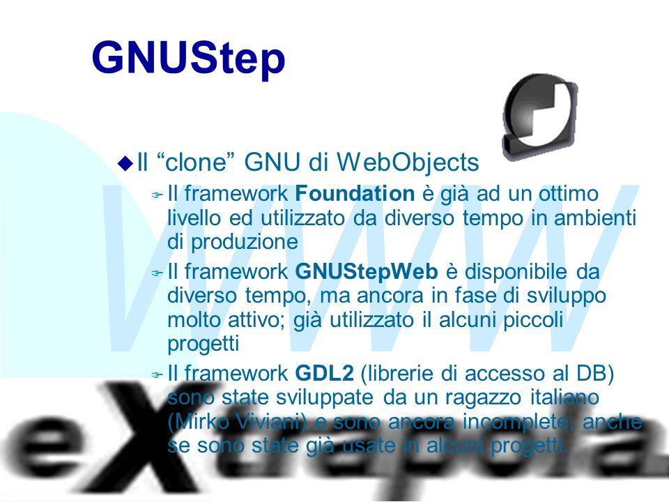 """WWW Fabio Vitali40 GNUStep u Il """"clone"""" GNU di WebObjects F Il framework Foundation è già ad un ottimo livello ed utilizzato da diverso tempo in ambie"""