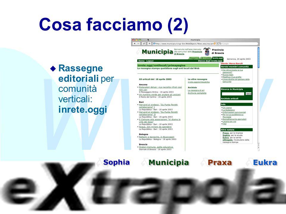 WWW Fabio Vitali6 Cosa facciamo (2) u Rassegne editoriali per comunità verticali: inrete.oggi