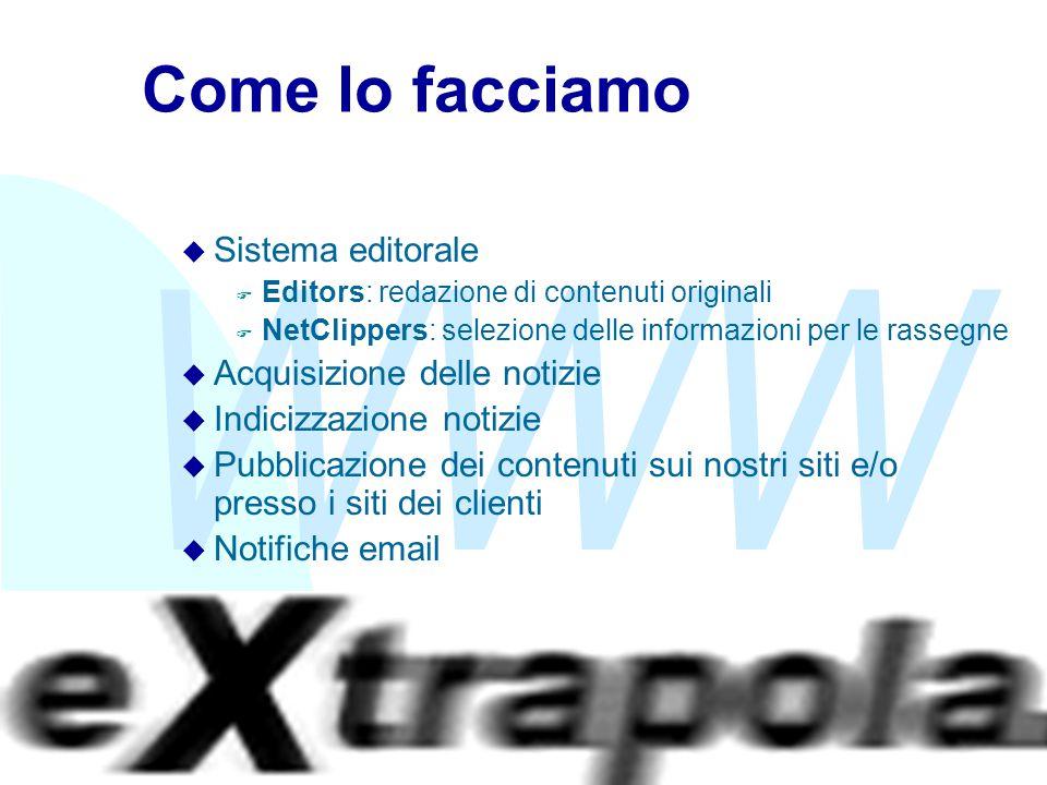 WWW Fabio Vitali9 Come lo facciamo u Sistema editorale F Editors: redazione di contenuti originali F NetClippers: selezione delle informazioni per le