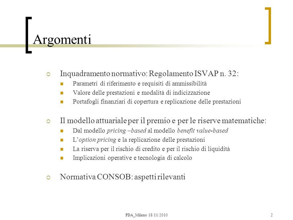 Il modello di Pricing Passato DAL MODELLO PRICE-BASED \ = nozionale OS = prezzo unitario in t=0 OS = PUR mista ordinaria Attualità AL MODELLO BENEFIT VALUE- BASED v(0,k) = struttura prezzi a pronti = operatore di media risk-adjusted = payoff aleatorio prestazione = fattore sconto demografico = payoff deterministico prestazione 13PDA_Milano 18/11/2010