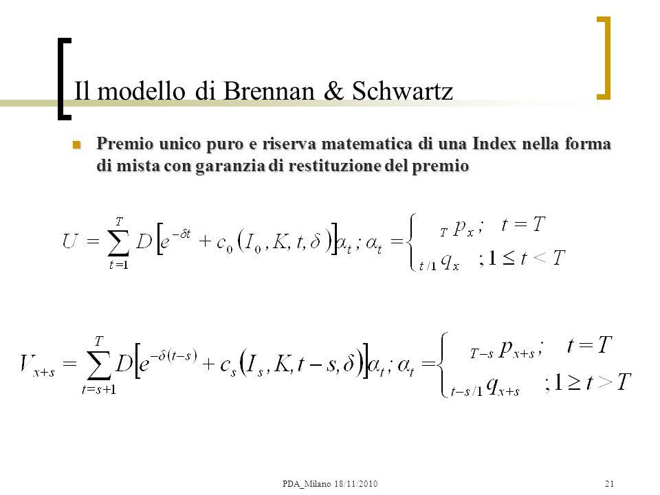 21 Il modello di Brennan & Schwartz Premio unico puro e riserva matematica di una Index nella forma di mista con garanzia di restituzione del premio Premio unico puro e riserva matematica di una Index nella forma di mista con garanzia di restituzione del premio PDA_Milano 18/11/2010
