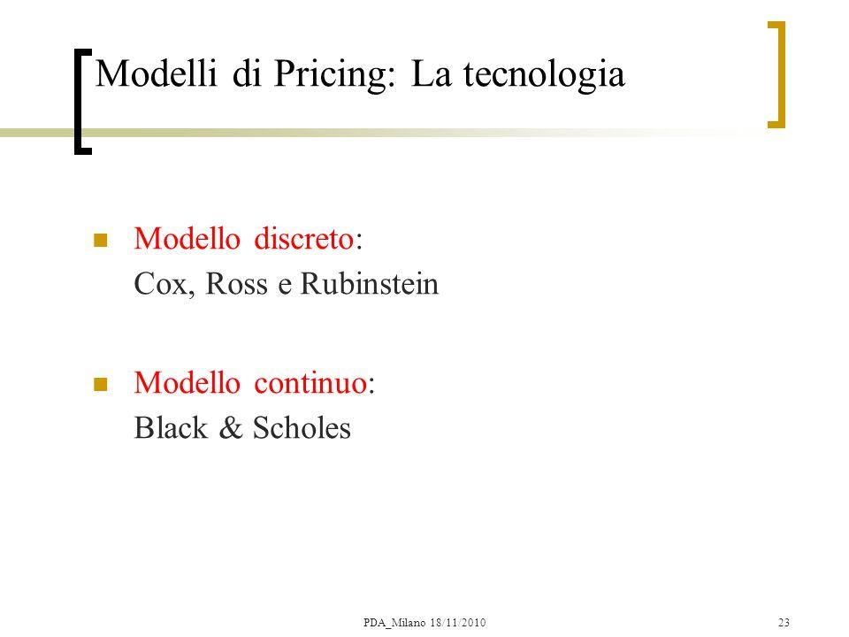 23 Modelli di Pricing: La tecnologia Modello discreto: Cox, Ross e Rubinstein  Modello continuo: Black & Scholes  PDA_Milano 18/11/2010