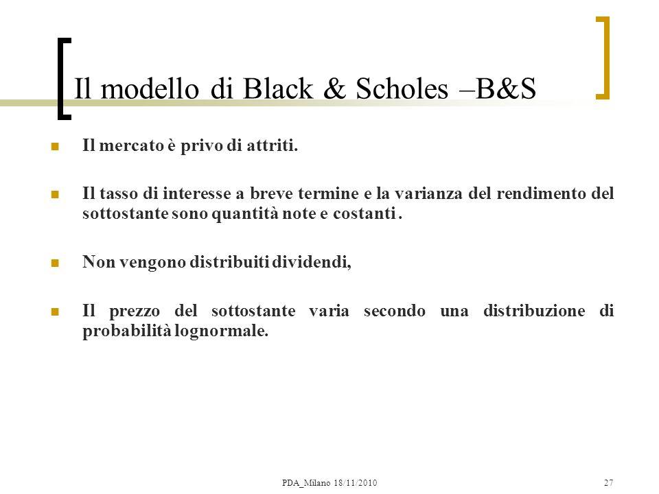 27 Il modello di Black & Scholes –B&S Il mercato è privo di attriti.