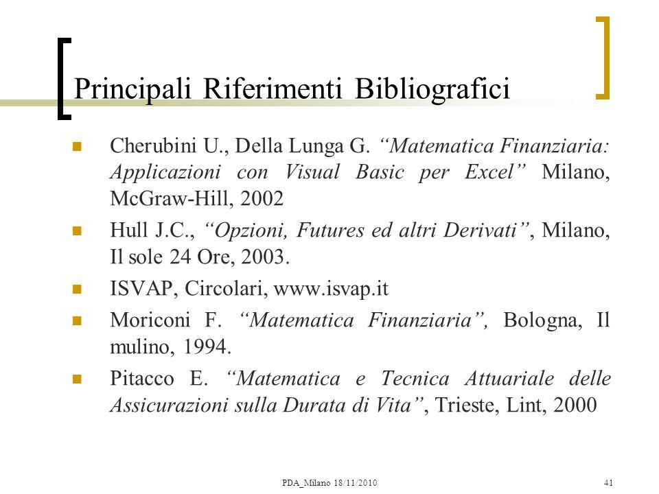 41 Principali Riferimenti Bibliografici Cherubini U., Della Lunga G.