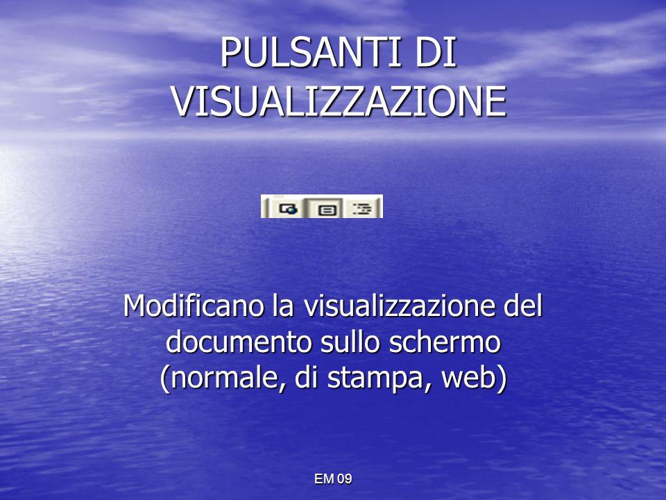 EM 09 PULSANTI DI VISUALIZZAZIONE Modificano la visualizzazione del documento sullo schermo (normale, di stampa, web)