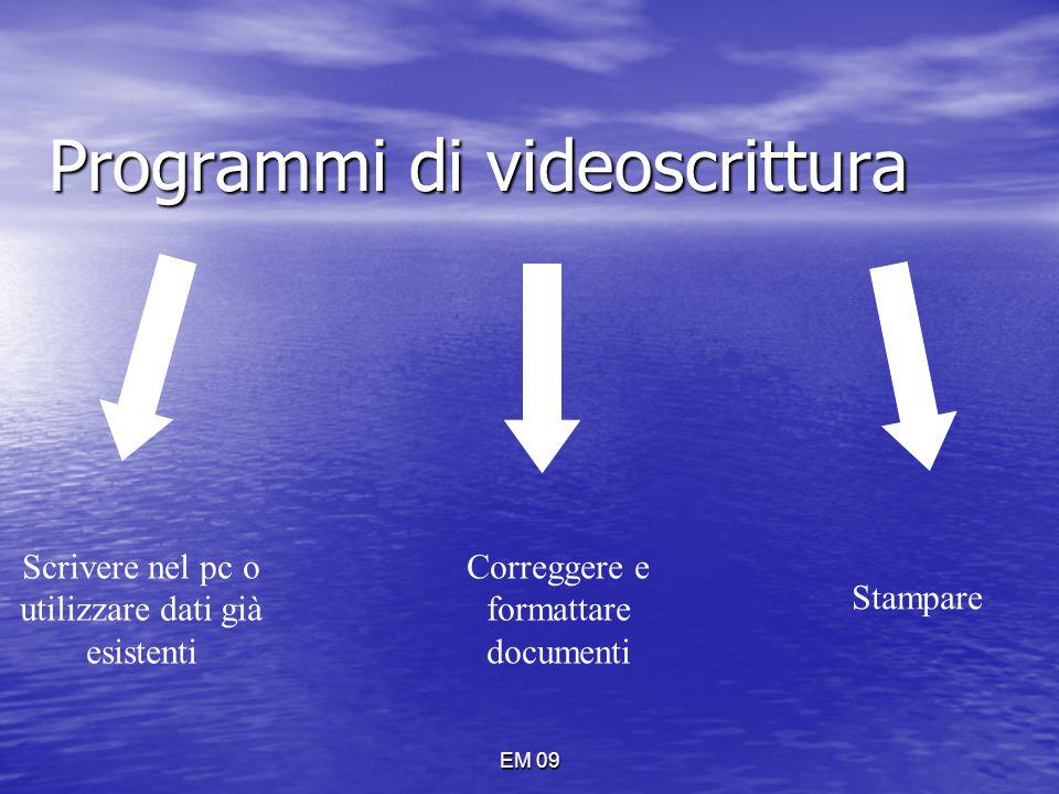 EM 09 Programmi di videoscrittura Scrivere nel pc o utilizzare dati già esistenti Correggere e formattare documenti Stampare
