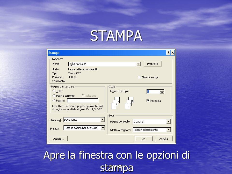 EM 09 STAMPA Apre la finestra con le opzioni di stampa