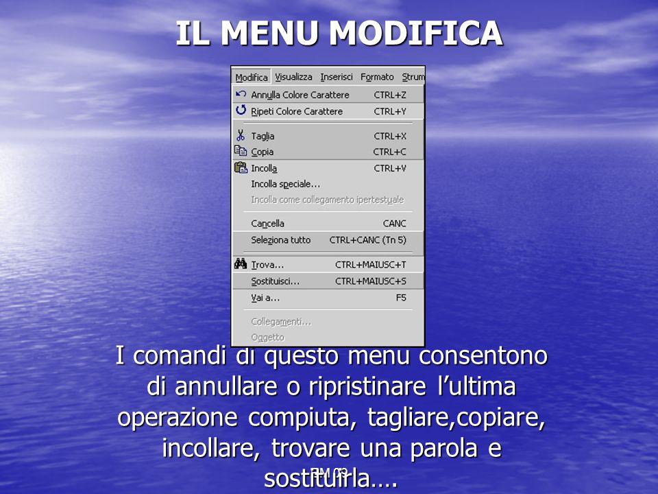 EM 09 IL MENU MODIFICA I comandi di questo menu consentono di annullare o ripristinare l'ultima operazione compiuta, tagliare,copiare, incollare, trov