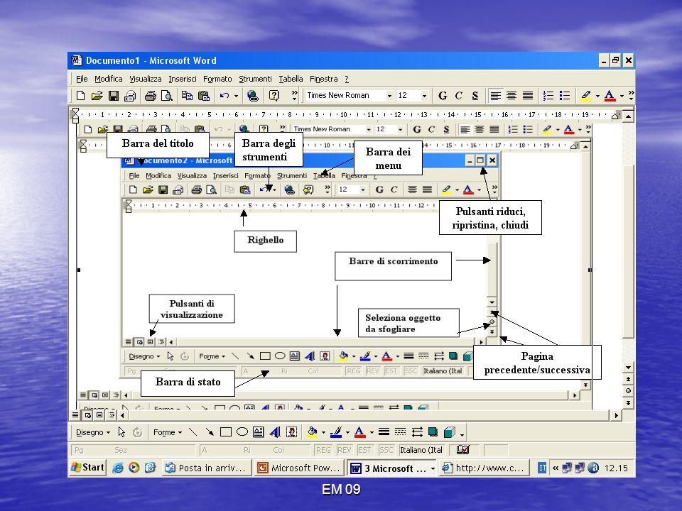 EM 09 DISEGNA TABELLA Apre la barra degli strumenti tabella e bordi con la quale è possibile disegnare una tabella fissando colore, tipo, spessore del bordo, colore di sfondo…