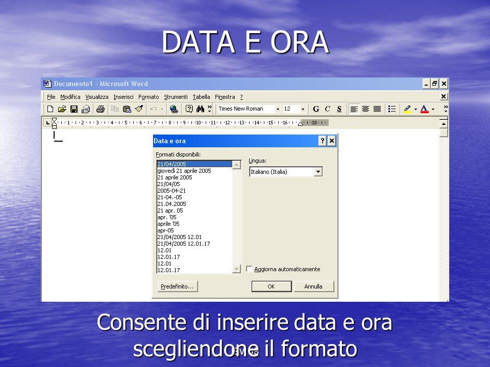 EM 09 DATA E ORA Consente di inserire data e ora scegliendone il formato