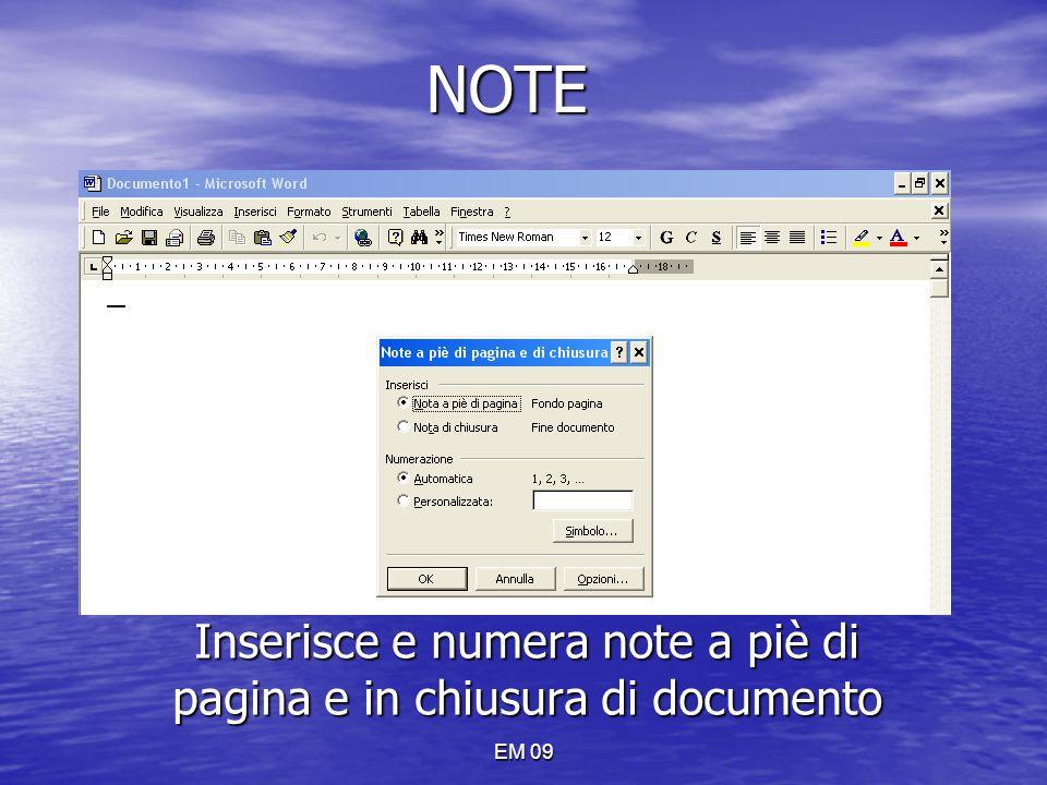 NOTE Inserisce e numera note a piè di pagina e in chiusura di documento