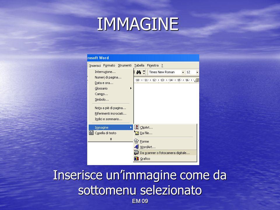 EM 09 IMMAGINE Inserisce un'immagine come da sottomenu selezionato