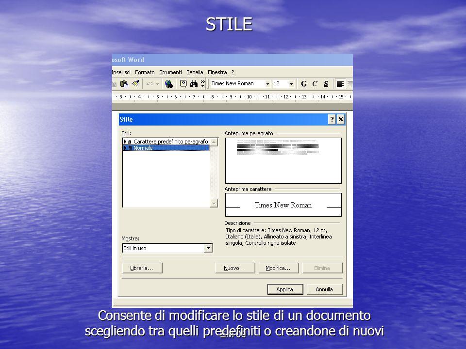 EM 09 STILE Consente di modificare lo stile di un documento scegliendo tra quelli predefiniti o creandone di nuovi