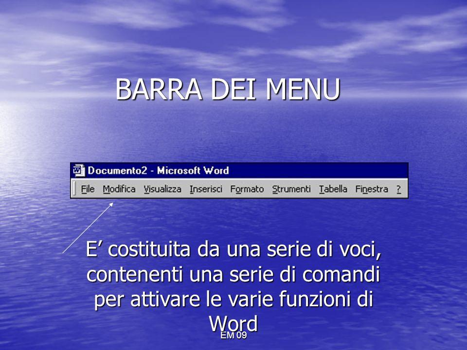 EM 09 BARRA DEI MENU E' costituita da una serie di voci, contenenti una serie di comandi per attivare le varie funzioni di Word