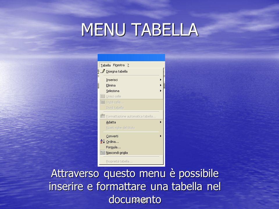 MENU TABELLA Attraverso questo menu è possibile inserire e formattare una tabella nel documento