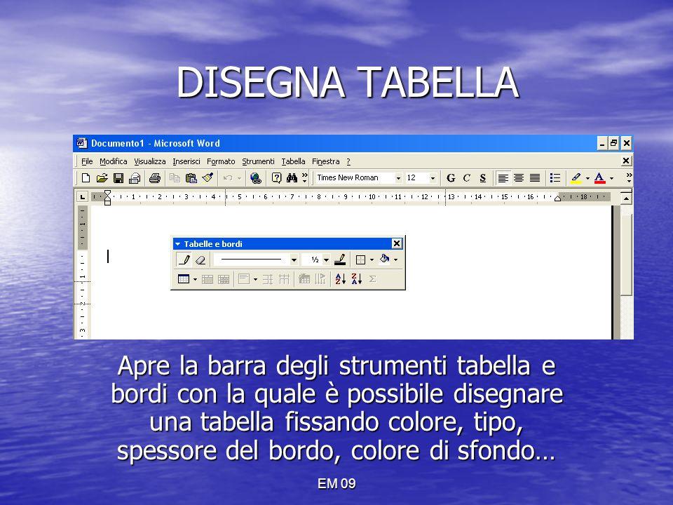 EM 09 DISEGNA TABELLA Apre la barra degli strumenti tabella e bordi con la quale è possibile disegnare una tabella fissando colore, tipo, spessore del