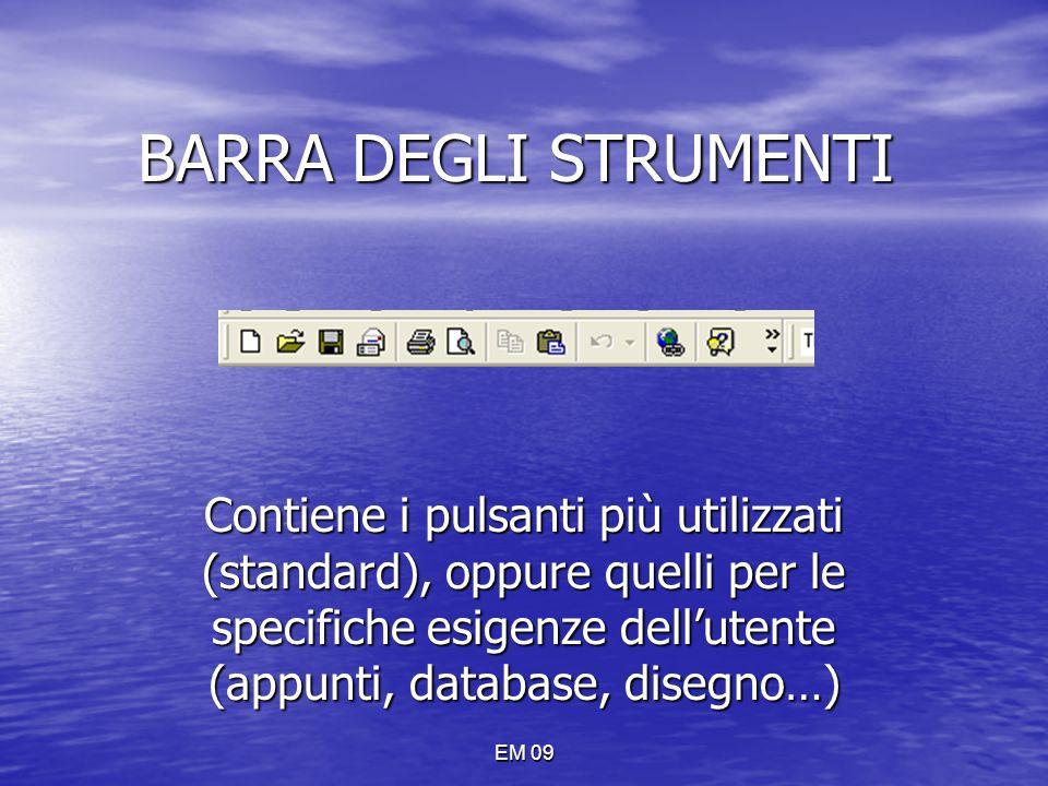 EM 09 BARRA DEGLI STRUMENTI Contiene i pulsanti più utilizzati (standard), oppure quelli per le specifiche esigenze dell'utente (appunti, database, di