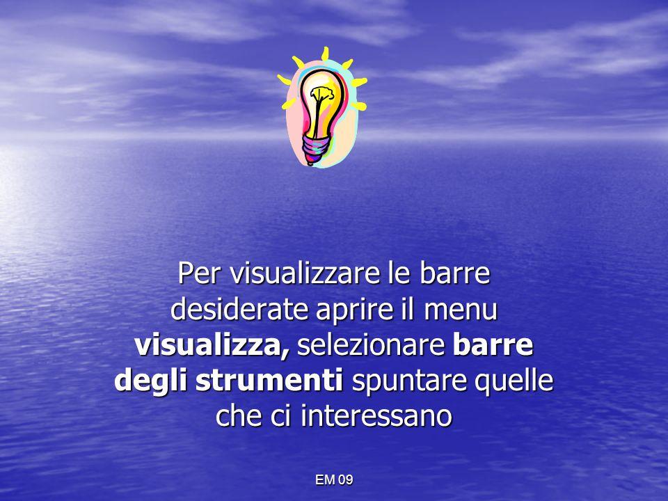 EM 09 MENU INSERISCI Con questo menu è possibile inserire nel documento note, commenti, simboli immagini….