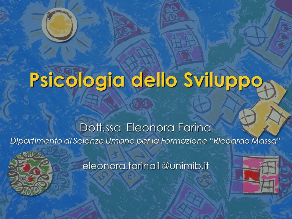"""Psicologia dello Sviluppo Dott.ssa Eleonora Farina Dipartimento di Scienze Umane per la Formazione """"Riccardo Massa"""" eleonora.farina1@unimib.it"""