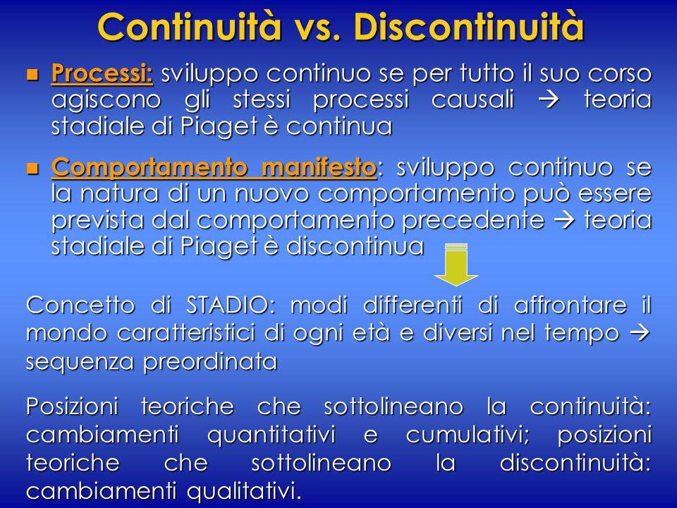 Continuità vs. Discontinuità n Processi: sviluppo continuo se per tutto il suo corso agiscono gli stessi processi causali  teoria stadiale di Piaget