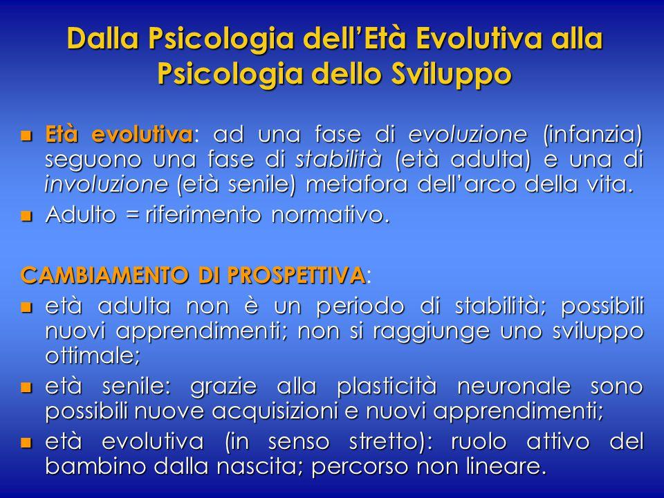 Dalla Psicologia dell'Età Evolutiva alla Psicologia dello Sviluppo n Età evolutiva ad una fase di evoluzione (infanzia) seguono una fase di stabilità (età adulta) e una di involuzione (età senile) metafora dell'arco della vita.