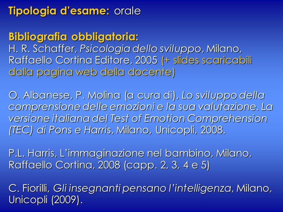 Tipologia d'esame: orale Bibliografia obbligatoria: H. R. Schaffer, Psicologia dello sviluppo, Milano, Raffaello Cortina Editore, 2005 (+ slides scari