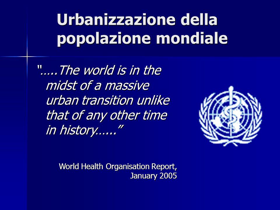 """Urbanizzazione della popolazione mondiale """"…..The world is in the midst of a massive urban transition unlike that of any other time in history…..."""" Wo"""