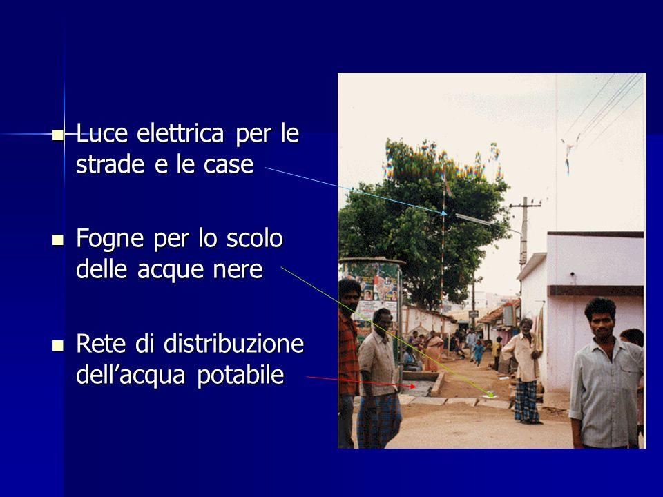 Luce elettrica per le strade e le case Luce elettrica per le strade e le case Fogne per lo scolo delle acque nere Fogne per lo scolo delle acque nere