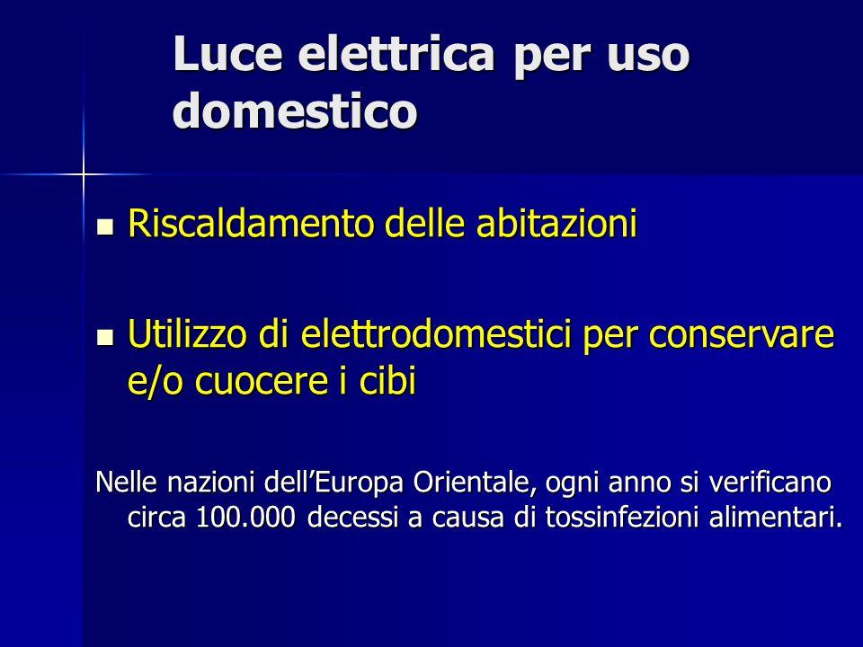 Luce elettrica per uso domestico Riscaldamento delle abitazioni Riscaldamento delle abitazioni Utilizzo di elettrodomestici per conservare e/o cuocere