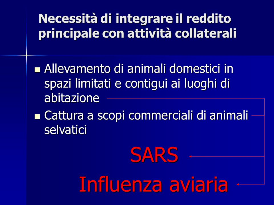Necessità di integrare il reddito principale con attività collaterali Allevamento di animali domestici in spazi limitati e contigui ai luoghi di abita