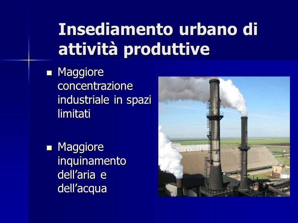Insediamento urbano di attività produttive Maggiore concentrazione industriale in spazi limitati Maggiore concentrazione industriale in spazi limitati