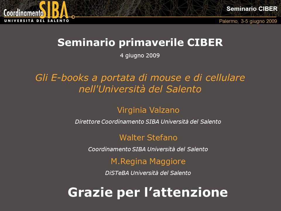 Seminario CIBER Palermo, 3-5 giugno 2009 Virginia Valzano Direttore Coordinamento SIBA Università del Salento Walter Stefano Coordinamento SIBA Univer