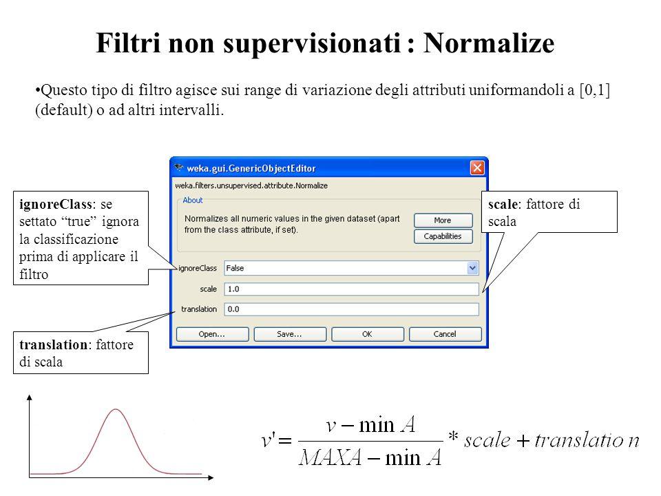 """ignoreClass: se settato """"true"""" ignora la classificazione prima di applicare il filtro scale: fattore di scala translation: fattore di scala Filtri non"""