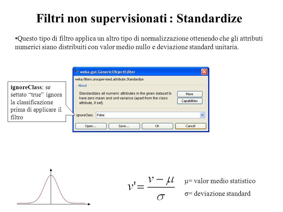 """μ= valor medio statistico σ= deviazione standard ignoreClass: se settato """"true"""" ignora la classificazione prima di applicare il filtro Filtri non supe"""
