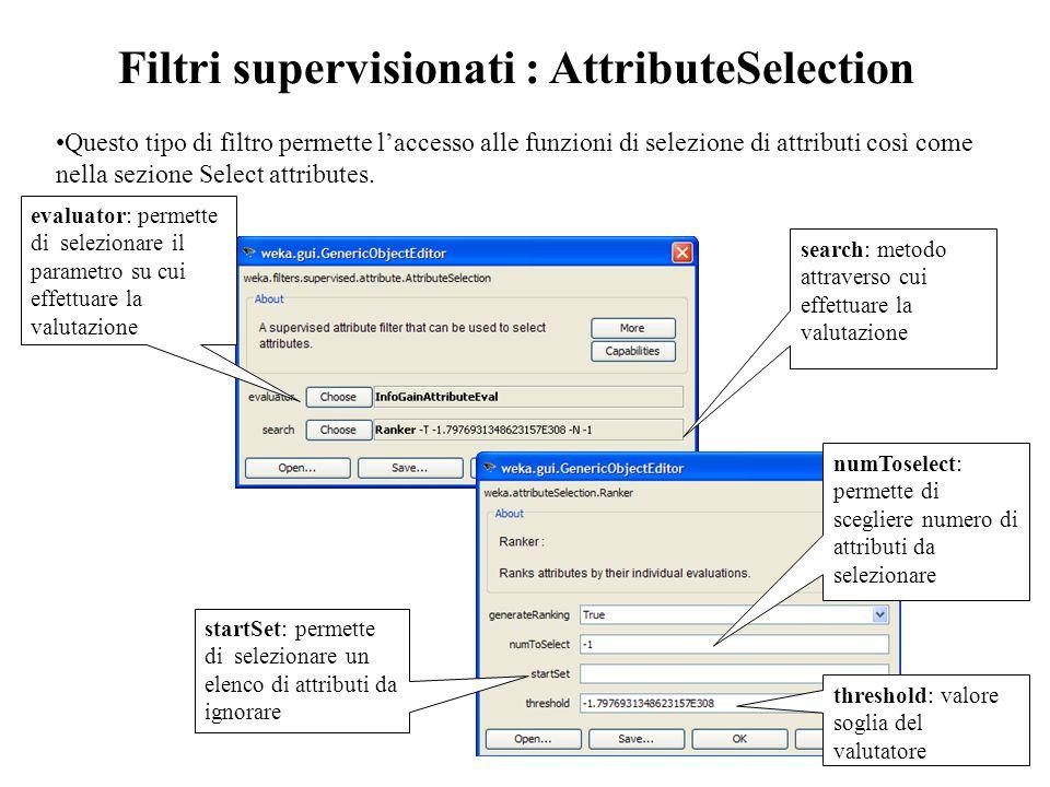 Filtri supervisionati : AttributeSelection Questo tipo di filtro permette l'accesso alle funzioni di selezione di attributi così come nella sezione Select attributes.