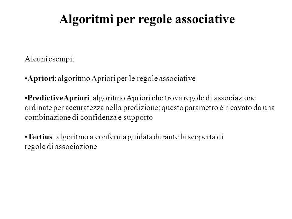 Alcuni esempi: Apriori: algoritmo Apriori per le regole associative PredictiveApriori: algoritmo Apriori che trova regole di associazione ordinate per accuratezza nella predizione; questo parametro è ricavato da una combinazione di confidenza e supporto Tertius: algoritmo a conferma guidata durante la scoperta di regole di associazione Algoritmi per regole associative